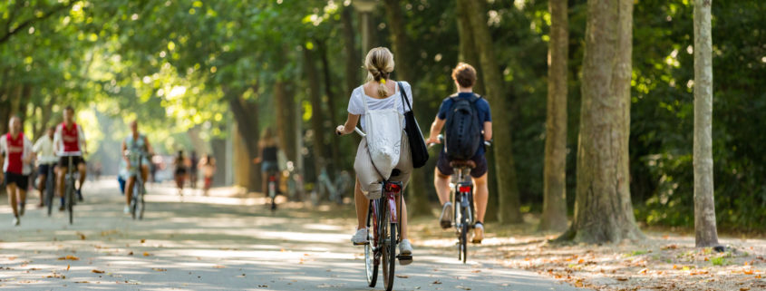 A girl and boy biking in the park.